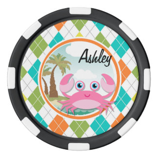 Pink Crab on Colorful Argyle Pattern Poker Chips