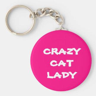 Pink Crazy Cat Lady Keychain