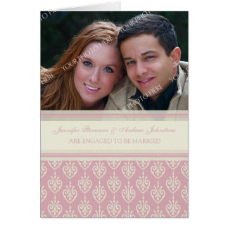 Pink Cream Engagement Photo Announcement Card
