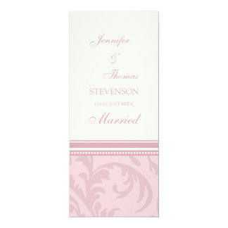 Pink Cream Just Married Announcement Cards