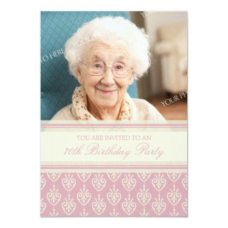 Pink Cream Photo 70th Birthday Party Invitations