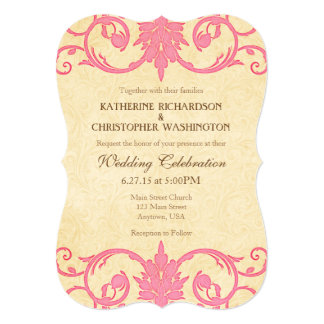 Pink Cream Swirls Vintage Wedding Invitation