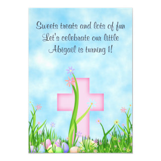 "Pink Cross and Easter Eggs 1st Birthday Invitation 5"" X 7"" Invitation Card"