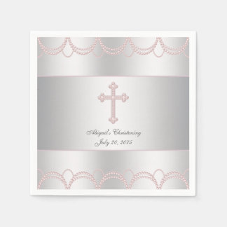 Pink Cross Christening Disposable Serviettes