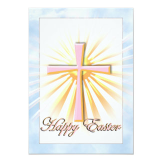 Pink Cross on Clouds with Happy Easter Text 13 Cm X 18 Cm Invitation Card