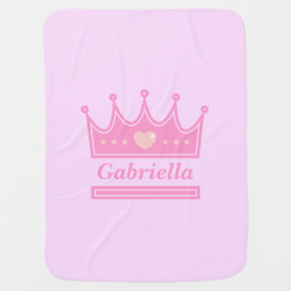 Pink Crown for the Royal Princess, Baby Girls Baby Blanket