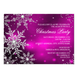 Pink Crystal Snowflake Christmas Dinner Party 13 Cm X 18 Cm Invitation Card