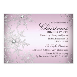 Pink Crystal Snowflake Christmas Dinner Party Card