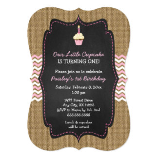 Pink cupcake first birthday party invites