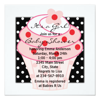 Pink Cupcake Pink Black Polka Dot Baby Shower Card