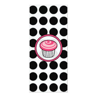"Pink Cupcake Skinny Invitation-Black Polka Dots 4"" X 9.25"" Invitation Card"