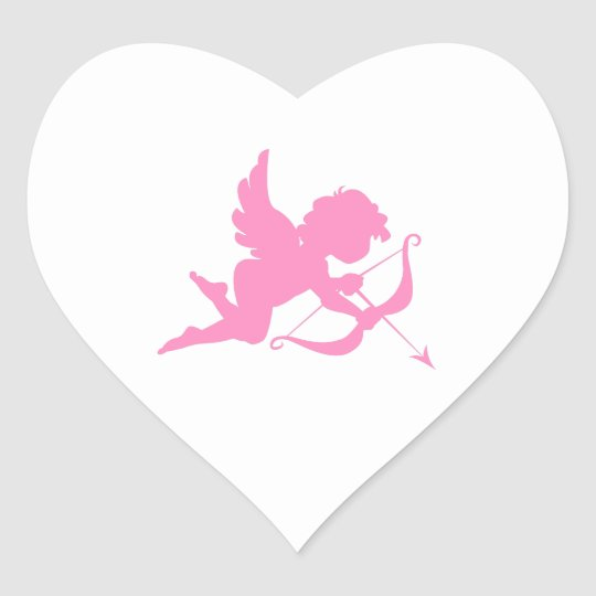 Pink Cupid and Arrow Heart Sticker