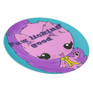 Pink cute fluffy kitten cat plate