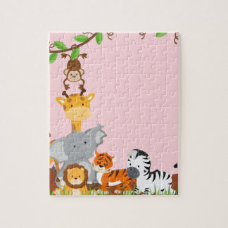Pink Cute Jungle Baby Animals Puzzles