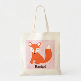 Pink Cute Woodland Baby Fox Personalized Tote
