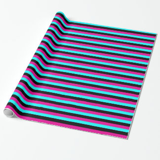 Pink cyan black Striped Gift Wrapping Paper