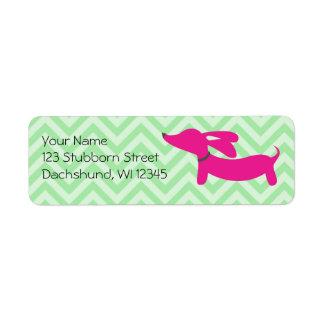 Pink dachshund on green chevrons