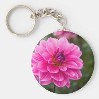 Pink Dahlia Basic Round Button Key Ring