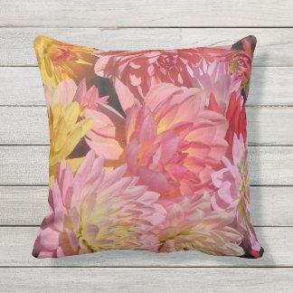 Pink Dahlia Garden Flowers Outdoor Pillow