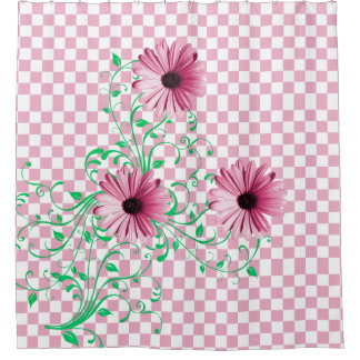 Pink Daisies and Checks Shower Curtain