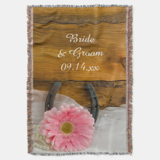 Pink Daisy and Horseshoe Country Western Wedding Throw Blanket