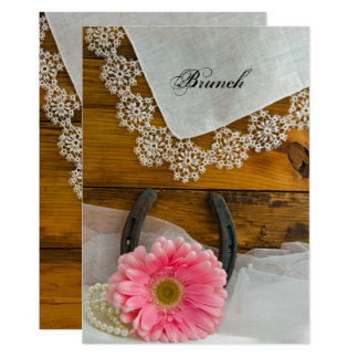 Pink Daisy and Lace Country Post Wedding Brunch Card