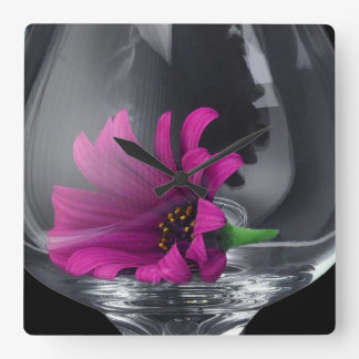 Pink Daisy Closeup In A Wine Glass Square Wall Clock