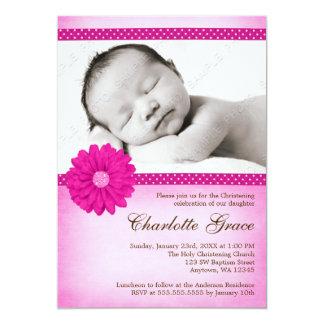 Pink Daisy Sparkle Photo Baptism Christening Card