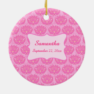 Pink Damask Baby Girl Name Personalized Birth Christmas Ornament