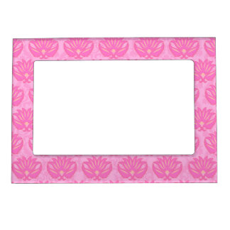 Pink Damask Baby Girl Name Personalized Birth Photo Frame Magnets