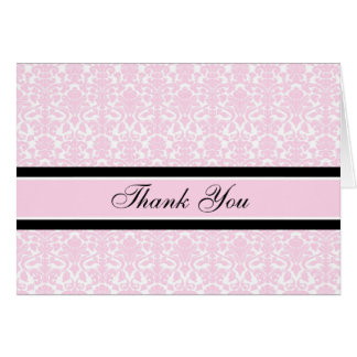 Pink Damask Baby Shower Hostess Thank You Greeting Card