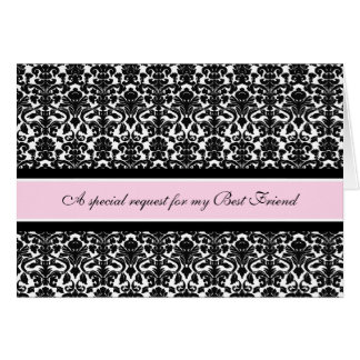 Pink Damask Best Friend Maid of Honor Invitation Cards