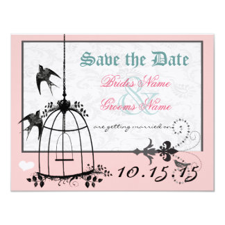Pink Damask Bird Cage Wedding Save the Date Card