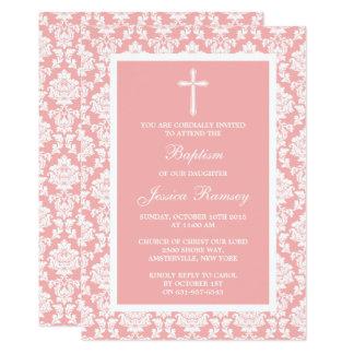 Pink Damask Cross Baptism Or Christening Card
