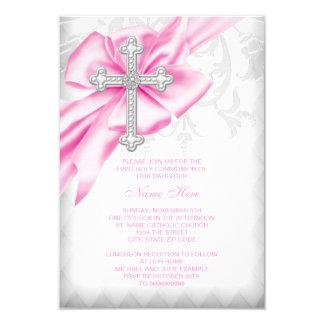 Pink Damask Cross First Communion Card