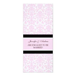 Pink Damask Engagement Announcement Cards