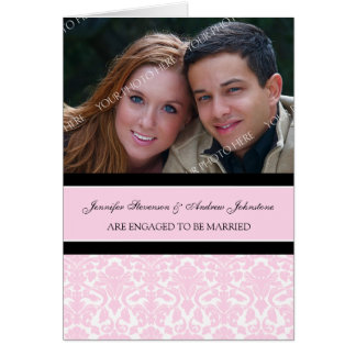 Pink Damask Engagement Photo Announcement Card