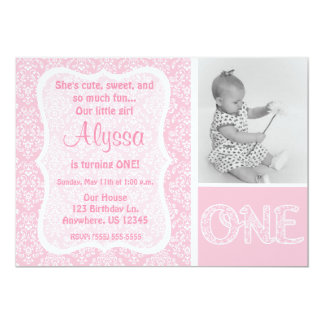 Pink Damask Girls First Birthday Invitation