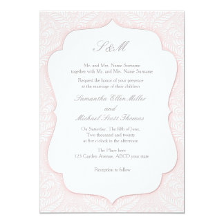 Pink damask invitation for wedding and life events