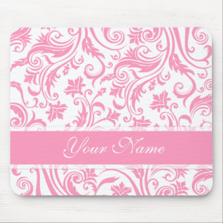 Pink Damask Monogram Mouse Pad