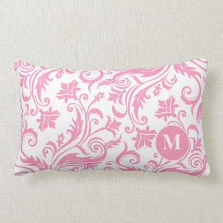 Pink Damask Pattern Custom Monogram Lumbar Cushion
