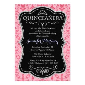 Pink Damask Pattern Invitations
