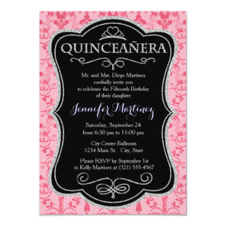 Pink Damask Pattern Invitations