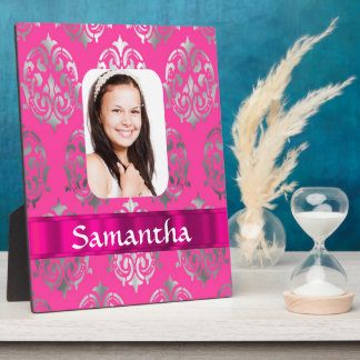 Pink damask personalized photo template plaque