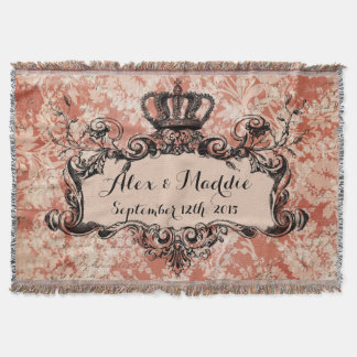 Pink Damask Personalized Wedding Royal Crown Throw
