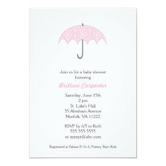 Pink Damask Umbrella Baby Shower Invites