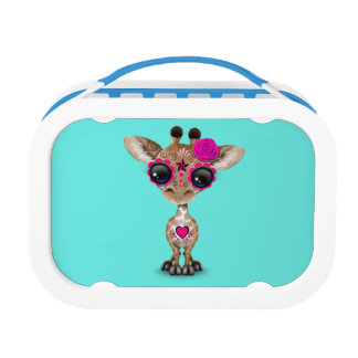 Pink Day of the Dead Baby Giraffe Lunch Box