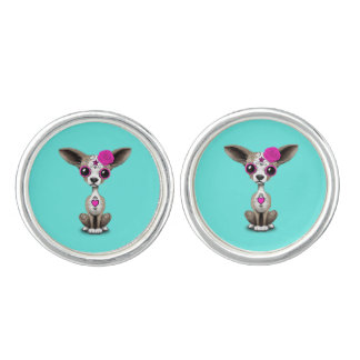 Pink Day of the Dead Chihuahua Cuff Links