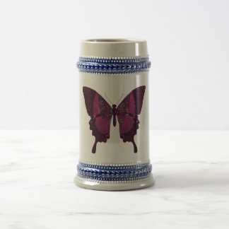 Pink Deep Purple Butterfly Stein Beer Glass Party