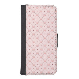 Pink diagonal pattern pink candy hearts iPhone SE/5/5s wallet case